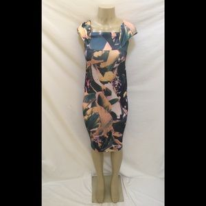 ASOS Size 2 Multicolor Leaf Print Bodycon Dress
